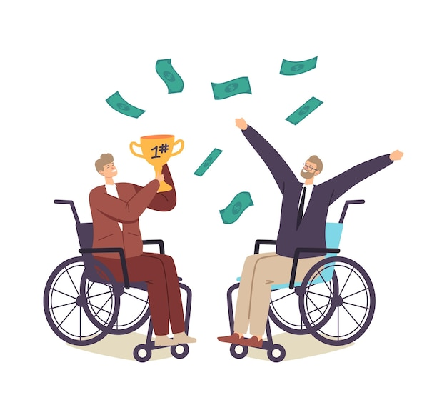 Happy businessmen characters on wheelchair celebrate success or victory holding gold goblet with money rain falling