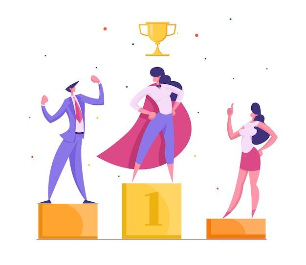 Happy businessmen standing on the winning podium illustration