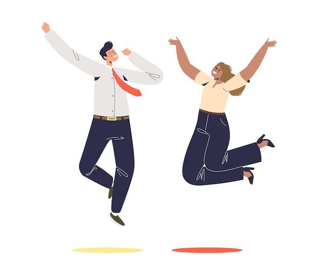 Счастливые бизнесмены прыгают изолированные