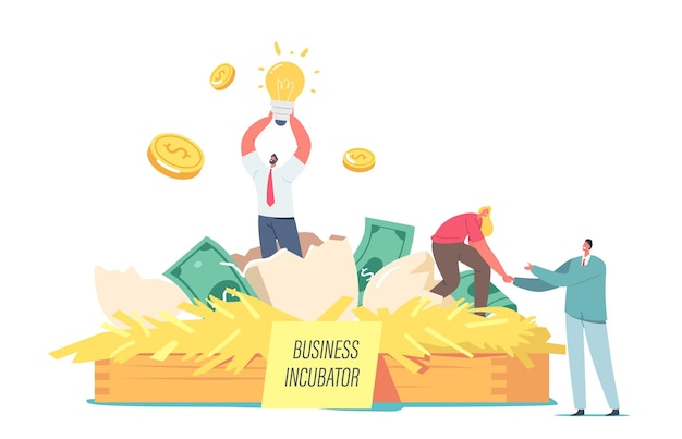 Счастливые бизнесмены - крошечные персонажи мужского и женского пола - извлекают стартап-проект из яйца в бизнес-инкубаторе в огромном гнезде с денежными купюрами