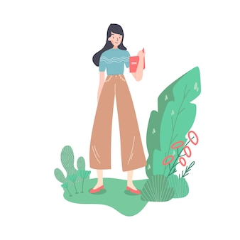 Happy businesswoman in full height. se is holding the office desk. interwiewer, worker, designer or anybody. old fashioned clothes and shoes. isolated cartoon flat vector illustration.