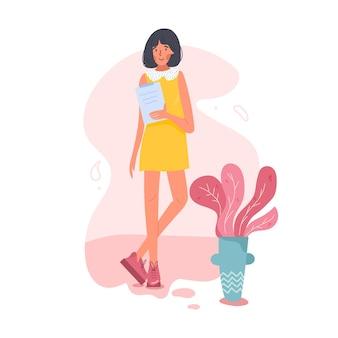 フルハイトで幸せな実業家。彼女は事務机を持っている。 interwiewer、労働者、デザイナーまたは誰でも。昔ながらの服や靴。孤立した漫画フラットイラスト。
