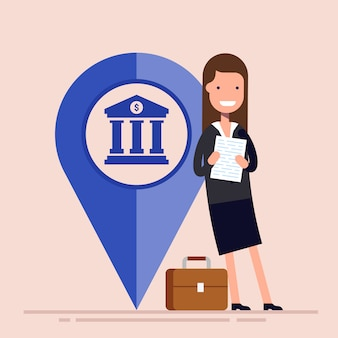 Happy businesswoman or manager with map pointer. business location