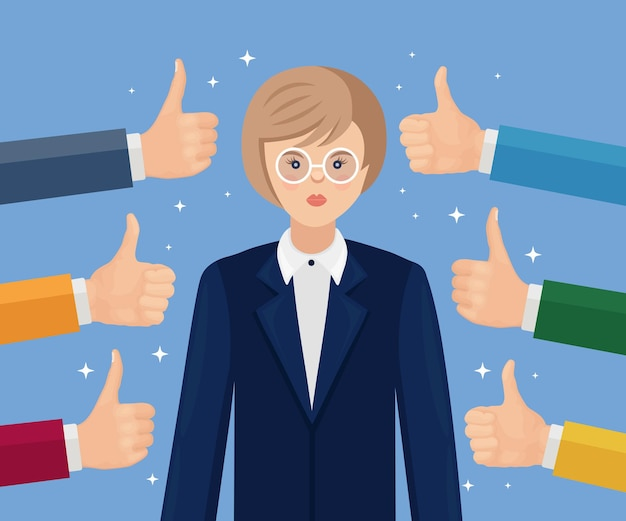 Happy businesswoman and many hands with thumbs up. positive feedback, success, good review