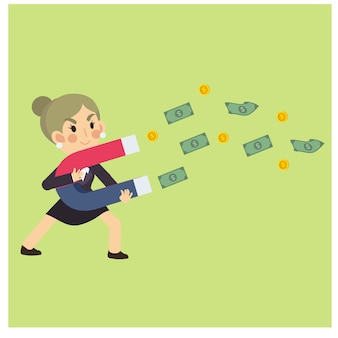 Happy businesswoman/office worker collecting money with magnet. business cartoon character vector.