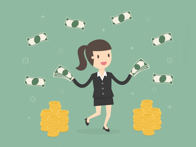 Happy businesswoman throwing money up.
