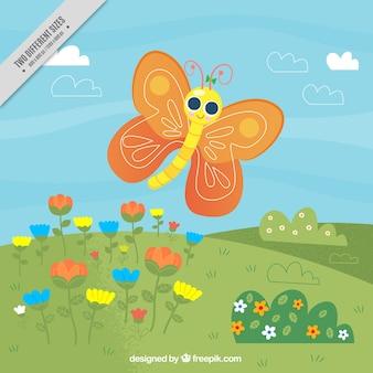 Счастливый фон бабочка в поле