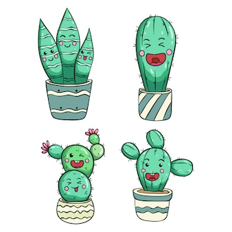 Happy cactus illustration with kawaii face by using colored doodle style