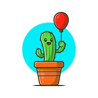Happy cactus plant holding balloon cartoon icon illustration.