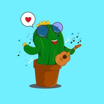 ギターを弾く幸せなサボテン