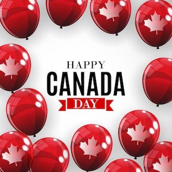 幸せなカナダデーの背景のグリーティングカード。図