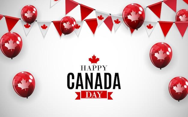 해피 캐나다 데가 배경 인사말 카드. 삽화