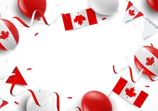 풍선 플래그와 함께 해피 캐나다 데가 배경