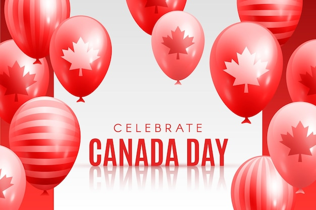 Happy canada day background with balloons