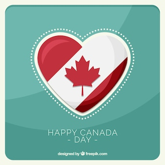 Happy canada day background with heart and leaf