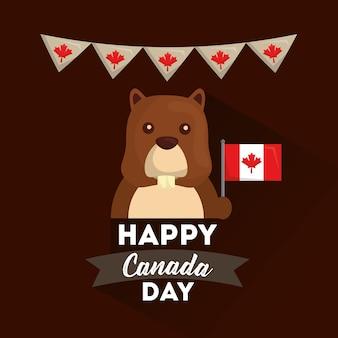 幸せなカナダの日 - ビーバー保持旗のペナントの装飾