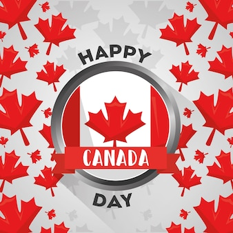 Happy canada day button with flag national