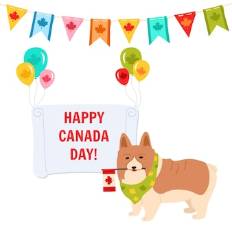Happy canada day card, pet dog with flag, balloon and banner funny canadian patriot pup corgi