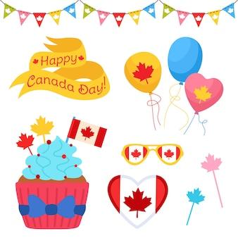 Happy canada day cartoon set, canadian patriot cupcake flag garland balloon glasses and ribbon tape