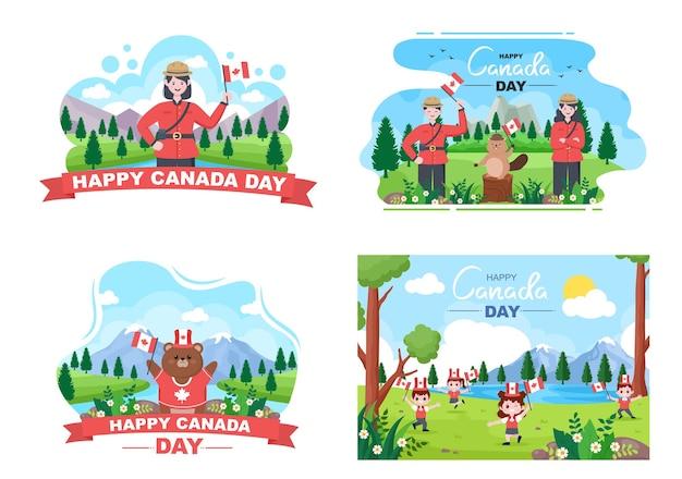 Happy canada day celebration illustration