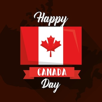 Happy canada day flag on map geographic