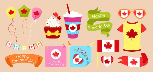 Happy canada day flat set, flag ribbon with maple leaf pennant garland, cup, muffin, paper memo note