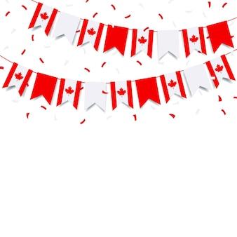 캐나다 국기와 함께 행복한 캐나다 데이 화환