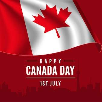 빨간색 배경에 깃발을 흔들며 함께 행복 한 캐나다 날 인사말 카드.