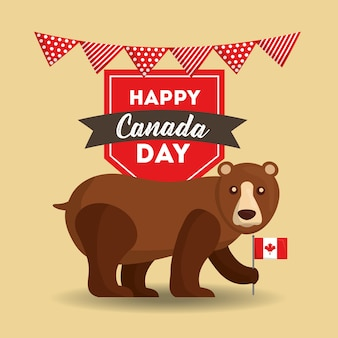 Happy canada day grizzly bear holding flag
