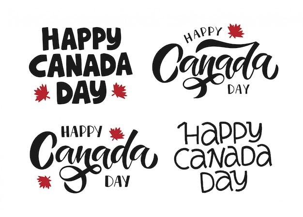 Happy canada day holiday vector illustration set