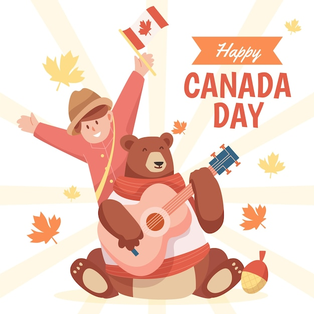 Счастливый день канады иллюстрация