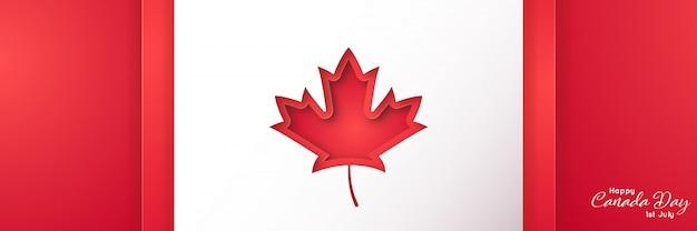紙のアートスタイルで幸せなカナダの日。