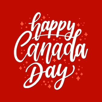 Happy canada day lettering with stars