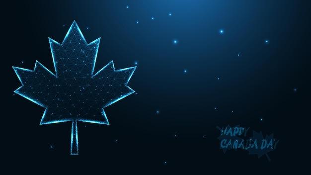 カナダの幸せな日。メープルリーフライン接続。低ポリワイヤーフレームデザイン。抽象的な幾何学的な背景。ベクトルイラスト。