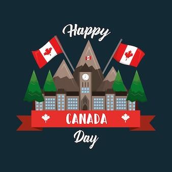 Happy canada day ottawa parliament mountaind flag national