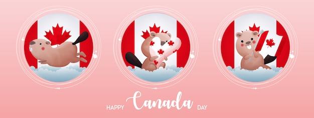 幸せなカナダデーのポスター。手描きの書道文字でかわいいビーバーグリーティングカードとカナダの旗。カナダのカエデの葉。