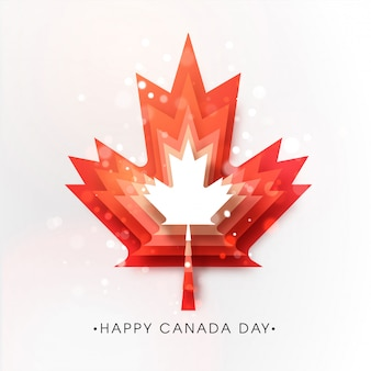 Happy canada day poster design with red paper cut layer maple leaf and bokeh lights effect