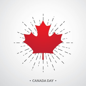 Happy canada day poster template with red maple leaf
