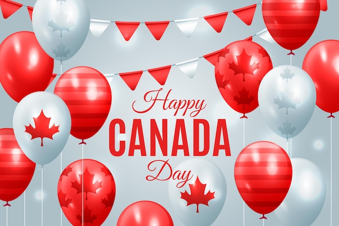 Happy canada day realistic background with balloons