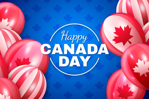 Happy canada day realistic wallpaper with balloons