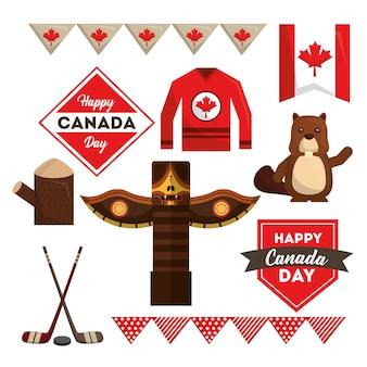 Happy canada day set national symbols