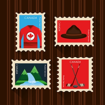 Happy canada day set postage stamp national symbols