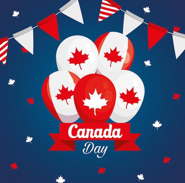 風船のヘリウムの装飾で幸せなカナダの日