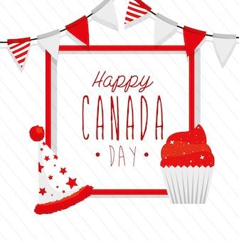 装飾が施された幸せなカナダの日 Premiumベクター