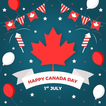 Happy canada day with fireworks and balloons