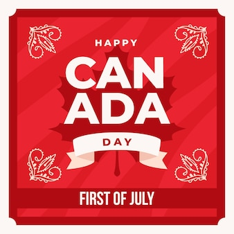 Happy canada day with floral motifs