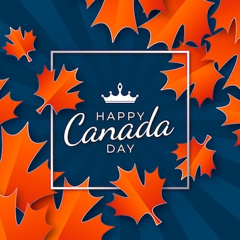Happy canada day with frame and maple leaves