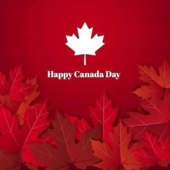 Счастливый день канады с кленовым листом