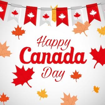 カエデの葉の装飾で幸せなカナダの日 Premiumベクター