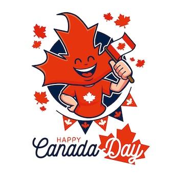 Felice giorno del canada con foglie di acero